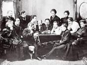 English: A posed photograph of Anton Chekhov reading his play The Seagull to the Moscow Art Theatre company. On Chekhov's right, Konstantin Stanislavski is sat, and next to him, Olga Knipper. Stanislavski's wife, Maria Liliana, is seated to Chekhov's left
