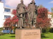 Monument to Tycho Brahe and Johannes Kepler in Prague, Czech Republic