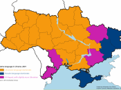English: Native language in Ukraine. Legend: Ukrainian language dominates as the native language Russian language dominates as the native language. Bi-lingual, with a slight Ukrainian language lead