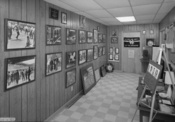 Interior view of the basement exhibition at the 16th Street Baptist Church in Birmingham, Alabama, with pictures of the events of the Civil Rights movement and the 1963 bombing of the church.