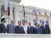 (L-R:) Prime Minister Nguyen Cao Ky (South Vietnam), Prime Minister Harold Holt (Australia), President Park Chung Hee (Korea), President Ferdinand Marcos (Philippines), Prime Minister Keith Holyoake (New Zealand), Lt. Gen. Nguyen Van Thieu (South Vietnam)