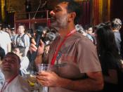Ravikant asks a question of wikidocumentary director Nic Hill after the showing at the Wikimania party.