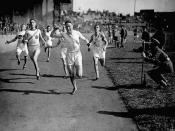 (Track and Field) Final of 220 yards won by Cpl. Kelly. Athletic Championships of the Overseas Military Forces of Canada at Stamford Bridge, Chelsea [England]