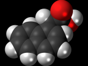 Space-filling model of the 1-naphthaleneacetic acid molecule, a plant hormone in the auxin family. Colour code (click to show) : Black: Carbon, C : White: Hydrogen, H : Red: Oxygen, O