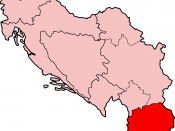 The Socialist Republic of Macedonia highlighted in red within the Socialist Federal Republic of Yugoslavia.