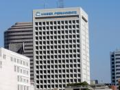 English: A office building with the Kaiser Permanente logo in downtown Oakland. As of 2009, Kaiser was the single largest user of office space in the City of Oakland. However, Kaiser's headquarters is in the Ordway Building, which does not bear the Kaiser