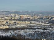 English: View to Murmansk from Omni Hotel Murmansk.