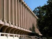 Jack Langson Library at UC Irvine is one of the eight original buildings on the campus, designed by architect William Pereira in 1965.