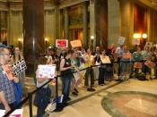 English: Protesters gathered inside the state capitol building in St. Paul, Minnesota, to protest against the upcoming vote by the Minnesota House of Representatives to put an anti-gay marriage amendment on the 2012 election ballot.