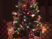 An artificial fiber optic Christmas tree