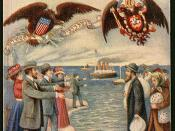 In this Rosh Hashana greeting card from the early 1900s, Russian Jews, packs in hand, gaze at the American relatives beckoning them to the United States. Over two million Jews fled the pogroms of the Russian Empire to the safety of the U.S. from 1881-1924