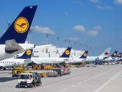 English: Lufthansa aircraft and one Air Canada aircraft at Munich Airport.