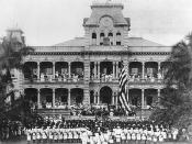 English: Raising American Flag at United States Annexation Ceremony at ʻIolani Palace, Honolulu, Hawaii. The American marines performing the ceremony are from the USS Philadelphia. Collection: Ray Jerome Baker Collection.