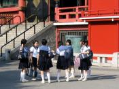 junior high school students wearing sailor fuku, Sensō-ji temple, Asakusa, Tokyo, Japan