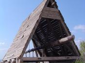 Reproduction medieval battering ram at Château des Baux, France