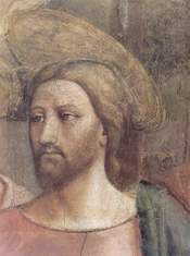 Detail of Jesus' face in the Tribute Money.
