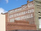 English: A Levi Strauss advertising sign painted on a brick wall in Woodland, California