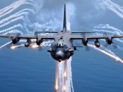 English: An AC-130H gunship from the 16th Special Operations Squadron, , Florida, jettisons flares as an infrared countermeasure during multi-gunship formation egress training on August 24, 2007.