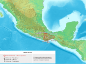 Map showing the location of the Zapotec Civilization, developed in the Pre-Columbian Era in Mesoamerica