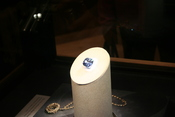 Hope Diamond, unset, on display.