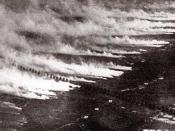 A poison gas attack using gas cylinders in World War I.