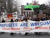Refugees are welcome main banner - Refugee Action protest 27 July 2013 Melbourne