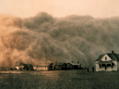 A Dust Bowl storm approaches Stratford, Texas in 1935.