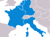 Founding members of the European Coal and Steel Community (1952, inc. territories of FR), with flag.