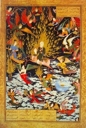 English: Muhammad riding the Buraq; a 16th-century Persian miniature. فارسی: صحنه ای از معراج پیامبر اسلام سوار بر براق نگاره ای از سلطان محمد در قرن 16 میلادی