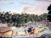 English: A painting by an unknown artist depicts the Battle of Vinegar Hill, where several hundred convicts broke out of Castle Hill prison farm to take on the British redcoats. Photo: National Library of Australia
