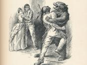 English: Bear Hug, The Last of the Mohicans, J. Fenimore Cooper, 1896. Illustration by F.T. Merrill