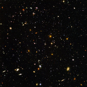 The Hubble Ultra Deep Field, is an image of a small region of space in the constellation Fornax, composited from Hubble Space Telescope data accumulated over a period from September 3, 2003 through January 16, 2004. The patch of sky in which the galaxies