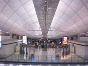 The futuristic interior roof of Hong Kong International Airport