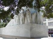 English: Memorial (cenotaph) at The Alamo in San Antonio, Texas, designed by Pompeo Coppini. It was installed between 1936 to 1940.