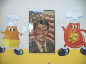 A portrait of Ronald Reagan made of Jelly Belly jelly beans is displayed at the visitor center.