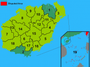 English: Map of prefectures of Hainan Province