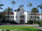 English: Historic Mission Revival and Spanish Colonial Revival style architecture at the San Diego State University campus. On the National Register of Historic Places in San Diego County, California. :*Photo taken by Wikipedia User:Geographer in April 18