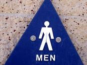 English: I photographed this picture from a public restroom. It is a male symbol for the men's restroom. I intend to use it on the toilet article to show the two commonly used male and female pictograms on public restrooms in the United States--Dark Ticho