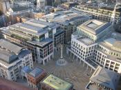 English: A view from the south of Paternoster Square in London, England from the top viewing deck of St. Paul's Cathedral. Paternoster Square, City of London, England – the new home of the London Stock Exchange and next door to St Paul's Cathedral.