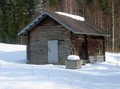 English: Chimneyless sauna building in Enonkoski, Finland. Suomi: Savusauna Enonkoskella