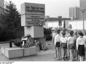 East German memorial to border guards killed at the Berlin Wall, August 1986. It was demolished following the fall of the Wall.