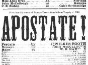 English: The playbill advertising as Pescara in The Apostate at , , on March 18, 1865 – Booth's final acting appearance and where he would assassinate Abraham Lincoln the following month.