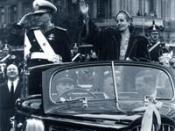 Eva and Juan Peron, inaugural parade.