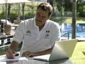 Laptop computers are portable and can be used in many locations. Shown here is former Mexican president Vicente Fox using an Apple PowerBook.