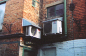 English: I took the picture of these Mitsubishi and LG Electronics Air conditioning unit my self at a Banbury shopping mall in the year 2010. I here by release it in to the public domain.
