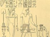 Pharaoh Thutmose I of the 18th dynasty of Ancient Egypt, with his chief wife Queen Ahmose and daughter Neferubity. (The father, mother and sister of Hatshepsut.)