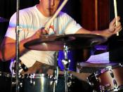 Dale Beatty plays drums at Dave Mason Feelin Alright Classic at Fort Belvoir, Va.