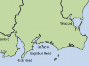 Map showing the location of Baginbun Head where Raymond le Gros landed in 1170 in Ireland. Waterford and Wexford were Norse settlements at that time. The first landing of the Normans took place at Bannow Island in 1169. (This island meanwhile joined the m