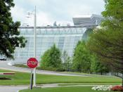 English: Reebok world headquarters in Canton, as seen from the adjacent public road, Royall Street, through a long zoom lens.