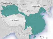 Tang Dynasty circa 700 AD. Derived from Territories_of_Dynasties_in_China.gif.
